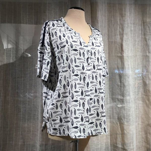 1025-023 Bluse SIMCLAN 105 Druck offwhite