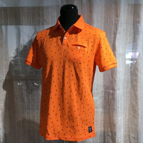1019676 Polo TOM TAILOR men 23470 orange blue cactus